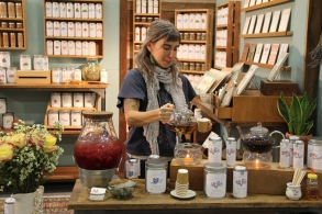 Scout serving tea at the San Francisco International Gift Fair in February