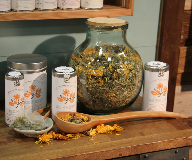 Wholesome Cleanse detox tea featuring organic red raspberry leaf, wild & organic nettles, organic oat tops and straw, organic alfalfa, organic red clover tops, organic sage, organic calendula flower, organic lemon balm, organic dandelion root, wild oregon grape root, organic burdock root, organic fennel and organic spearmint